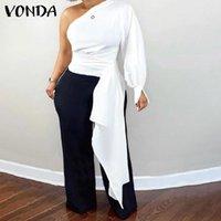 Women's Blouses & Shirts Women One Shoulder Sexy Tops 2021 VONDA Evening Party Asymmetric Blouse Female Femme Blusas Feminina Oversized