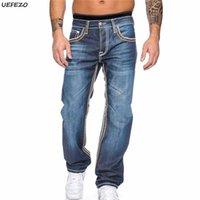 Uefezo mens jeans 2021 Automne Stretch lâche droite Fitness Hommes Denim Pantalons Hommes Motocycle Viker Jeans Pantalon long Pantalon Cowboys