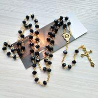 أسود كريستال الوردية قلادة الذهب طويل يسوع الصليب قلادة مجوهرات الصلاة الدينية الكاثوليكية