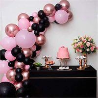 86 قطع الأسود الوردي بالون جارلاند القوس كيت روز الذهب بالونات المعدنية حفلة عيد استحمام الطفل الديكور
