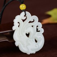 Natural autêntico Hetian Jade White Jade Hollow Esculpido Phoenix Penhor Phoenix Nirvana Pingente
