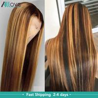 Allove Highlight Straight 4x4 Chiusura Parrucca per capelli umani Parrucche di pizzo Parrucche anteriori in pizzo Brasiliano Onda del corpo riccio profondo