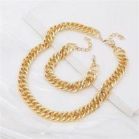 Punk satsning kedja halsband armband nackkedjor för kvinnor vintage överdriven gyllene hoop metall halsband clavicle smycken