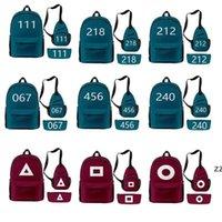 Backpack TV Squid Game Oxford Cloth Waterproof Chest Bag Pen Case 3 Piece Set Travel School Students Schoolbag HWB11008