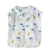 Wasoyoli Baby-capuche Bathrobes 60 * 120cm Enfants Beach Serviettes 1-4 ans Cloak sans manches 6 couches Mousseline Coton Girls Garçons Enfants Care Products