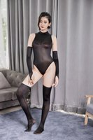 Sexy Set Shiny Body Suit Erotic Lingerie Open Crotch Bodysuit See Through Swimsuit With Stocking Glove Babydoll Catsuit