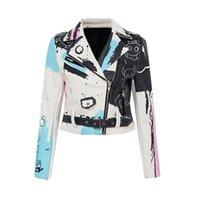 여자 재킷 리벳 오토바이 자켓 PU 가죽 여성 블랙 화이트 블루 낙서 화려한 인쇄 바이커 코트 펑크 스트리트웨어