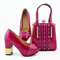 Bella fucsia mujer cubre zapatos Monedero con decoración de cristal grande Bombas y bolsas africanas Set para el vestido MD010, Talón 9,5 cm