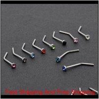 10pc / lot Bianco / Donne multicolore Donne in acciaio inox Borchie di naso anelli a forma di in acciaio inox a forma di cristallo in acciaio inox setto Piercing gioielli del corpo ya bo8xr