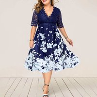 Casual Dresses Elegant female dress with blue lace, summer dress, evening party, patchwork, flower, elegant, casual, club attire, fashion 1FA3