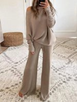 New autumn fashion solid color round neck long-sleeved loose pants casual women's two-piece suit