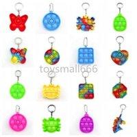 Simple Push Bubble Keychain Kids Novel Fidget keychains Dimple Toys Key Holder Rings Bag Pendants Decompression Rubber Toy Stock