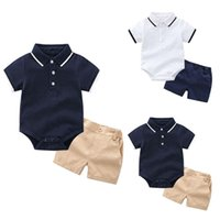 Clothing Sets Toddler Baby Summer Baby's Kids T-shirt Romper Tops Solid Shorts Outfits Boys Girls Meisje Clothes L3