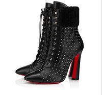 Elegant Winter Women Red Bottom Boots Dakita ankle boot silver spike 100 mm heel Black Heels Leather Lady Sexy Booties Party,Wedding
