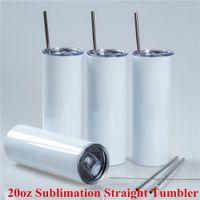 Tasse de Travel Tumbler 20oz Tumbler 20oz Coupe droite avec thermos thermos en acier inoxydable en métal