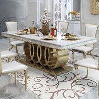 Créativité Spécial Moderne Salon Mobilier Meuble Métal Marbre Long Square Bureau Blanc pour Home Restaurant Hotel