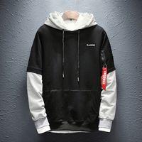 April Momo Sweatshirt Männer Hip Hop Patchwork Langarm Pullover Kontrast Plus Samt Dicke Feste Farbe Paar Hoodie Männer P 201126