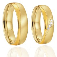 1 Pair 18k Gold Plated Marriage Wedding Rings Set for Couples Love Alliance Stainless Steel Jewelry Finger Ring