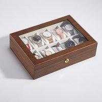 Caixa de relógio de madeira grande capacidade de armazenamento de metal jóias caixa de madeira walnut relógio relógio de armazenamento relógio relógio caixas de presente mar kkc6015