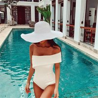 Two-piece Suits Sexy Off Shoulder One Piece Swimsuit For Women White Swimwear Ruffle Monokini Bandeau Bathing Suit Open Back Trikini Pad Sol