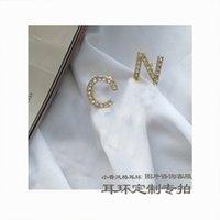 Nuevo Rhinestone completo / Pendientes de borla de la letra completa de la perla para las mujeres Fashion Asymmetric Stud Stud Pendiente Regalos 211 U2