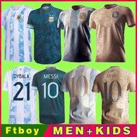 2021 الأرجنتين الرئيسية بعيدا كرة القدم الفانيلة لاعب نسخة المرأة سيدة 20 21 22 200th ميسي dybala أطقم أطفال كرة القدم قمصان aguero icardi mascherano camiseta de futbol