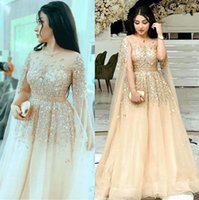 2021 Plus Size Arabic Aso Ebi Gold Luxurious Sexy Prom Dresses Beaded Sequined Sheer Neck Evening Formal Party Second Reception Bridesmaid Dress Gowns ZJ220