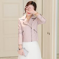 Women's Leather & Faux Korean Slim Jacket 2021 Spring And Autumn Zipper Small Coat Black Pink Woman Synthetic