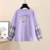 Women's T-Shirt QWEEK Oversized T Shirt Women Purple Lilac Tshirts Spring 2021 Fashion Korean Style Long Sleeve Loose Casual Clothing