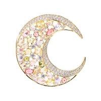 MADALENA SARARA AAA Zircon Moon Style Fine Brouch Pin Multi-Color Stone для женских ювелирных изделий