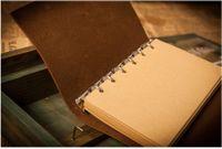 PU Kapak Bobinleri Not Defteri Kitap Yumuşak Copybook Boş Dizüstü Retro Yaprak Seyahat Günlüğü Kitaplar Kraft Dergisi Spiral Dizüstü Kırtasiye DBC A KWS20
