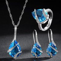 Earrings & Necklace Water Drop Shape Setting Cubic Zirconia Ring Sets For Women Sea Blue Color Fashion Party Jewelry Accessories