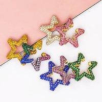 Earcuffs estrela do arco-íris Brinco para mulheres coloridas multi-hoop strass orelha manguito romântico estrela boho orelha clipes jóias presentes