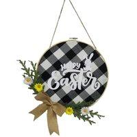 Fleurs décoratives Couronnes Happy Pâques suspendues Pendentif Fleur Guirlande de fleurs Ornement Plaque de porte à la maison Décorations de fête de mariage