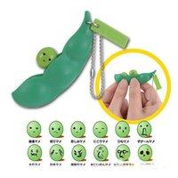 Bonito dos desenhos animados clipe de ervilha Keychain Telefone celular Pingente de Extrusão de Extrusão Toy Presente de Ervão Significado Lentil Keychain Saco Acessórios H25XS0G