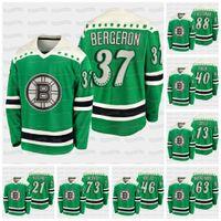 Gençlik Patrice Bergeron Boston Bruins 2021 St Patricks Günü Bobby Orr Curtis Hall David Pastrnak Coyle Kase Marchand Krejci Rask Jersey