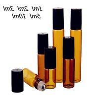Frascos de armazenamento frascos 50 pçs / lote 1ml 2ml 3ml 5ml 10 ml âmbar rolo de vidro fino na amostra de garrafa ensaios de óleo essencial com rolo de metal / gla