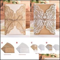 Greeting Event Festive Party Supplies Home & Garden10Pcs Year Wedding Invitations Flower Pattern Laser Cut Lace West Cowboy Customize Invita