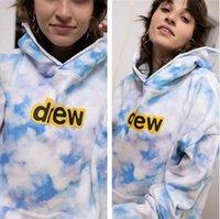 높은 거리 남성 여자 넥타이 염료 후드 드류 하우스 미소 인쇄 긴 소매 스웨터 스타일 겨울 푸른 하늘과 흰 구름 풍선 인쇄 커플 까마귀