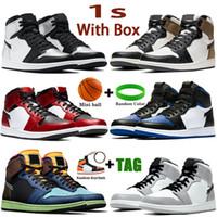 Box 1 1S Mens 농구 신발 어두운 모카 실버 발가락 도쿄 바이오 해킹 중간 빛 연기 회색 UNC 특허 남성 여성 운동화