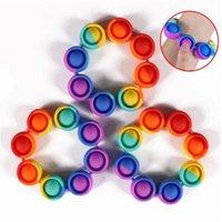 DHL Bubble Fidget Stress Reliter Giocattoli Rainbow Braccialetto Push bolle antistress Adulto Bambini sensoriali per alleviare il regalo di autismo per il bambino