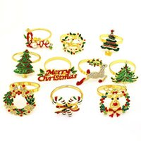 Napkin Rings Metal Christmas Tree Bow Flower Wreath Mouth Ring Wedding Banquet El Table Supplies Circle Merry Xmas Decoration