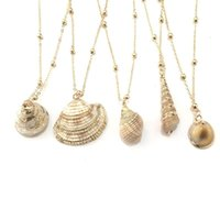 Chains Bohemian Style Natural Shell Pendant Gold Plated Personality Conch Necklace For Women European And American