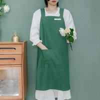 Japanese Style and Korean Cotton Linen Denim High Grade Simple Solid Color Smock Kitchen Apron