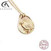 Canner Yaratıcı Hayvan 925 Gümüş Kolye S925 Ayar Plata Kadın Zincirler Gerdanlık Retro Charm Vintage Kuş Balina Yaka