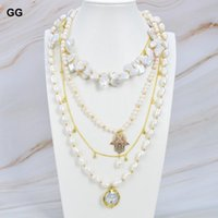 Pendant Necklaces JK Natural Pearl White Keshi Baroque Necklace CZ Charm Coin Glod Color Plated Chain