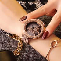 Wristwatches Lady Crystal Leopard Watch Women Dress Fashion Rose Gold Rotate Watches Female Diamond