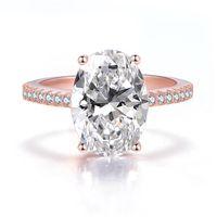 Ovas Classic 100% 925 Sterling Silver 9 CT Oval Criado Moissanite Gemstone Casamento Noivado Anel de Jóias Fine Presente Atacado 415 B3