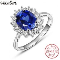 Wedding Rings Vecalon Fine Jewelry 100% Real 925 Sterling Silver Ring 5A Blue Zircon Cz Diana Engagement Band For Women Bridal