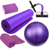 Tapis de yoga 5pcs Home Fitness Kit de remise en forme Ballon anti-slips Tapis de sport Sports EXISISSANCE-BAND TOOL1